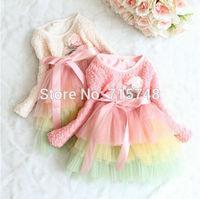 Free Shipping wholesale child 2014 girls rainbow  long sleeve tulle dress one-piece dress,lace dress,princess dress,tutu