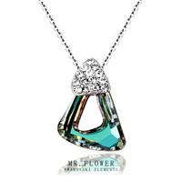 Upscale brand fine jewelry triangle austrian swaro elemnts crystal pendant 24k gold plated necklace women