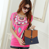 New womens tops fashion 2014 Ladies' Elegant plus size women clothing chiffon T shirt casual slim brand designer tops
