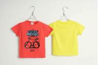 2014 summer new arrival fashion wholesale 5pcs/lot 100% Cotton top tee cartoon bicycle pattern children boy t shirts