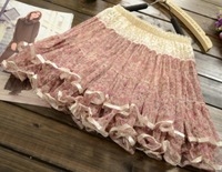 Pretty Ladies Girls Sweet Floral Lace Mini Cake Skirt - Pink