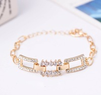 Min order is $10(mix order) Summer new arrival fashion gold plated rhinestonefor women  square chains bracelets women SL198