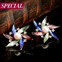 Special stud earring female anti-allergic vintage bohemia crystal earring windmill spring