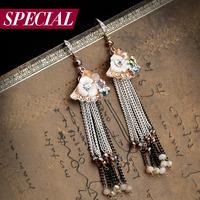 Special earrings female handmade vintage bohemia tassel spring