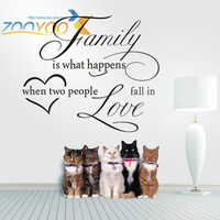 "118*100cm English Quotations ""Family is what"" Vinyl Removable Half-Handmade Wall Stickers ZooYoo Original Wall Decals 8187"