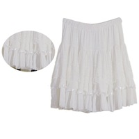 Pretty Women Girls Lovely Cake Pleated Ballet Mini Short Skirt - White