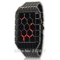 Freeshipping 2014 New model 1pc/lot high quality grid/lattice led watch,novelty item,alloy metal band/case,led digital movement