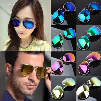 50% off Hot Unisex Retro Vintage Womens Men Mirrored Aviator Lens Sunglasses Christmas Bans Holiday Sun Glasses(China (Mainland))
