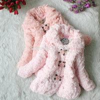 4pcs/lot best selling autumn winter warm fur coat for girls baby rose flower outwear jacket ZZ0813