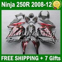 7gifts+ For Kawasaki red flames Ninja ZX250  ZX 250 250R 16#J4 08 09 10 11 12 2008 2009 red black 2010 2011 2012 ZX250R Fairing