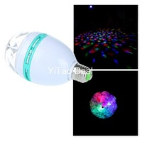 Free shipping E27 3W RGB Led Crystal Magic Stage Lights Bulb Rotating Lamp For Party Disco Bar