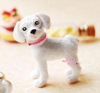1/12 scare Dollhouse PET White Puppy Lovely Dog 1/12 Dollhouse Miniature Animal furniture