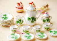1/12 scare Dollhouse    Lot of 15 Green Leaf Dollhouse Miniature Porcelain Coffee Tea Cup Set furniture