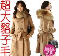 2014  autumn and winter cashmere overcoat large raccoon fur woolen thermal outerwear  woolen overcoat