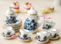 1/12 scare Dollhouse Lot of 15 Flower Tree Dollhouse Miniature Porcelain Coffee Tea Cup Set furniture
