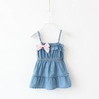 Children's clothing child tank dress female child denim suspender skirt small fresh kid's skirt sweet spaghetti strap top