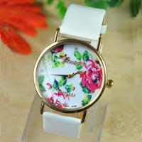 New Fashion Leather band GENEVA watches Rose Flower Watch For Women Dress Quartz wristwatches JW1628