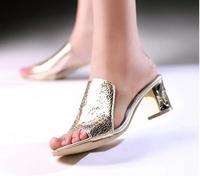 korean lady high heel sandal women sexy elegant slides summer slipper 5 colors  34-39  free shipping