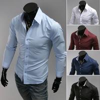 Hongkong Post 2014 shirt small fine plaid unique bag buckle solid  shirt men 9022 xxxl  Slim Fit Leisure Shirt