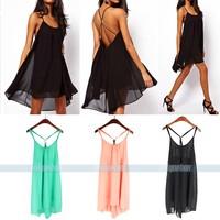 New Sexy Mini Women Chiffon Sleeveless Blackless Beach Party Summer Dress for free shipping