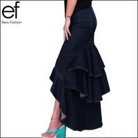Lanluu New Brand 2014 Fashion Slim Mermaid Style High Waist Long Denim Skirt With Tassels Women Dovetail Skirt  SQ237