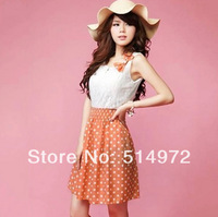 New 2014 Fashion Women's Clothing Sweet Lovely Lace Chiffon Polka Dot Casual Sundress Mini Dress Free Shipping