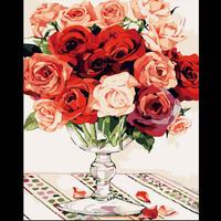 Digital oil painting 40 50 digital painting diy rose flower hand painting