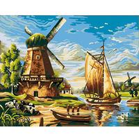 Digital oil painting 40 50 digital painting diy windmill digital oil painting hand painting