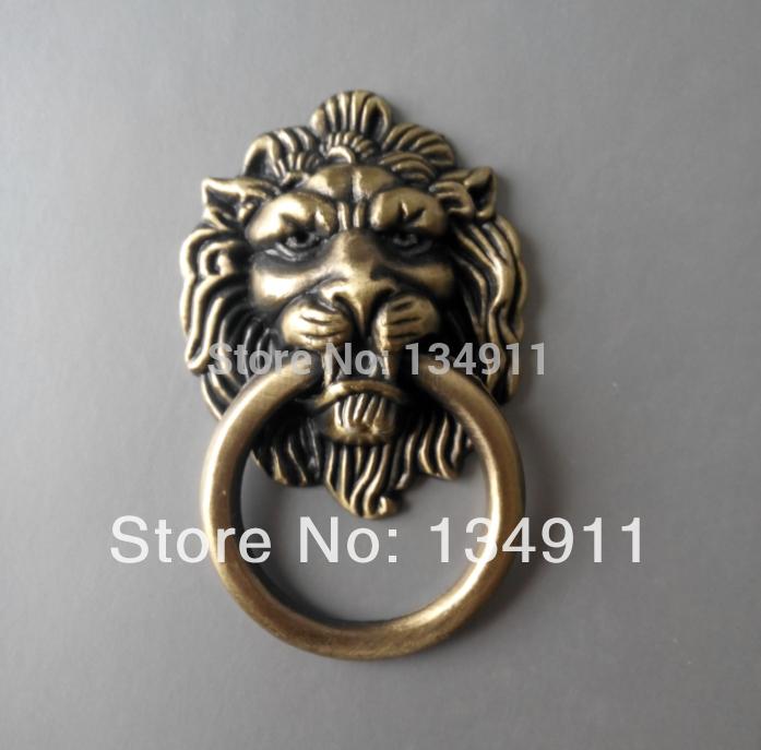 Free Shipping 2pcs single hole antique European rural style furniture handles cartoon bronze lion head rings(China (Mainland))
