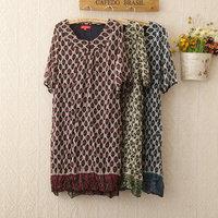 2014 spring dress ,summer plus size dress, women dress casual loose printed silk Dress short sleeve with belt  410