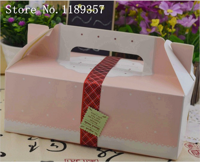 Large portable cake, gift,biscuit box,chocolate packaging paper box Customized printing paper packaging box(50pcs/lot)dp095(China (Mainland))