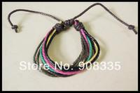 Assorted color Multi-layer hemp bracelet, colorful wax cord wrap bracelet, cheap bracelet,gay pride jewelry, NJ004
