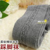 Thin vertical bar decorative pattern senior autumn and winter 6 thickening wool socks soft step foot socks