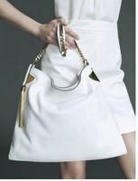 Designer women handbag genuine leather medium chain shoulder bags hobo bags white leather