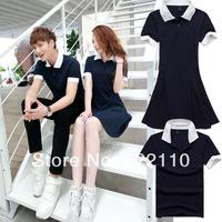2014 Summer Women dress Men's Polo shirt Couple Clothing Lovers Clothes Sweet Casual dress Sport T shirt