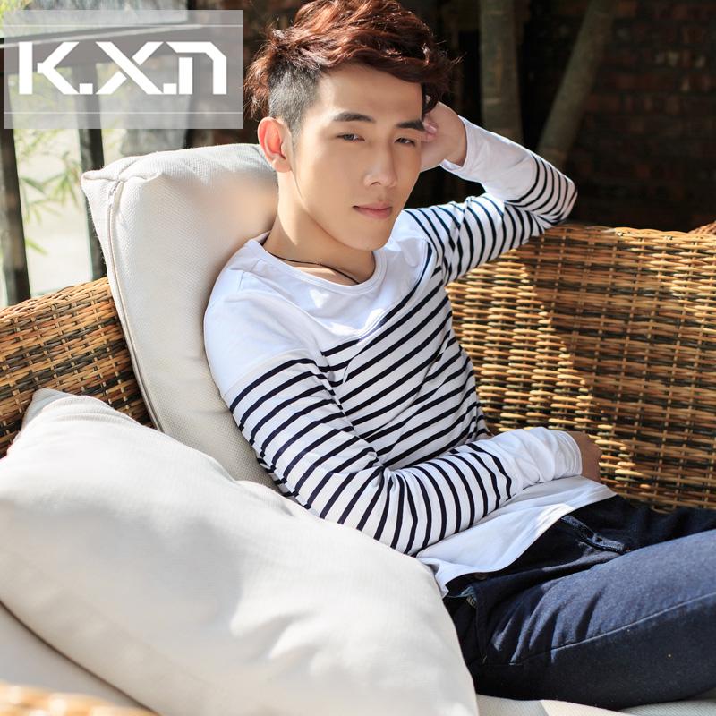 2014 adolescente t-shirt masculina slim de manga comprida t-shirt dos homens camisa básica t o-pescoço camisa tarja estilo navy(China (Mainland))