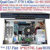 router mikrotik 1U server with six intel PCI-E 1000M 82574L Gigabit LAN Intel Quad-Core i7 3770 3.4G Mikrotik ROS 1G RAM 8G SSD