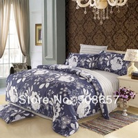 new slate blue floral printed cotton girls bedding set queen full size bed sheet linen discount doona duvet cover bedclothes 4pc