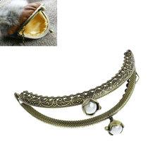 Free Shipping 3PCs Bag Purse Arc Frame Clasp Coin White AB Resin Ball Bronze Tone B32338(China (Mainland))
