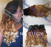 stock! Best Grade 6A 3pcs/lot 1b/33/27# ombre virgin brazilian loose wave three tone human hair weave Free shipping