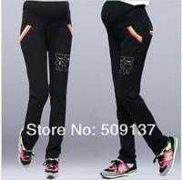 Spring, Autumn Maternity Clothes Pregnant Women Black Sport Pencil Pants/ Trousers W127 P