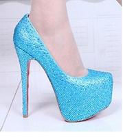 World Brand high heel shoes good quality rhinestone diamond fashion platform party dress wedding pumps B18 wholesale size 35-41
