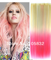 Heat Resistant Fiber Long Straight Synthetic Clip in Hair Extensions,women hairpiece accessories,1pcs/lot