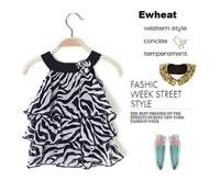 2014 New Arrival Baby Girl Leopard Dress Zebra Dress Fashion Cake Dress Kid's Dress retail free shipping