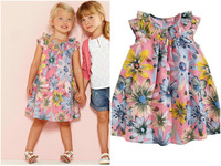 Girls Dress 100% cotton 2014 summer flower child dress Bohemian style girl print princess dress summer child dress free shipping
