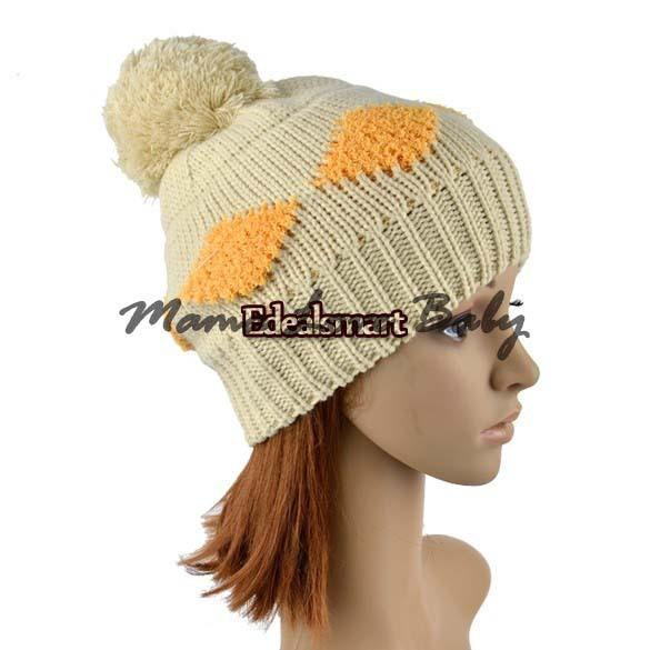 Holiday Sale Free Shipping New Women's Diamond Grid Pattern Beanie Crochet Knit Winter Hat Large Ball Cap Ski 9534(China (Mainland))