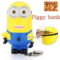 Baby Kids Children gift Despicable me figure Whimsy Cartoon coin minions pvc Vinyl Money Piggy bank Collection box 3D Toys Robot