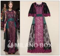 2014 Spring Summer Fashion Runway race vintage  Print Flowers Elegant Maxi Dresses