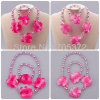 Girls Spring Peach Blossom Faceted Bead Necklace Bracelet Jewelry Set Pink Kid Accessories Plastic Jewelery Sets Gift 2 Sets