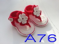 free shipping,fashion 100% Handmade Baby girls Crochet summer white & red flower Sandals shoes 0-12 months